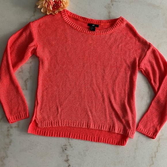 H&M Sweater in Bright Coral Orange